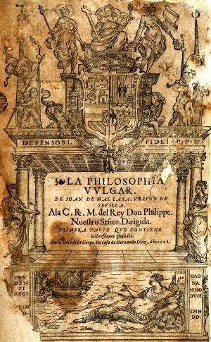 "Portada de ""Origen de la filosofía vulgar"" (Sevilla, 1568) - Juan de Mal Lara"