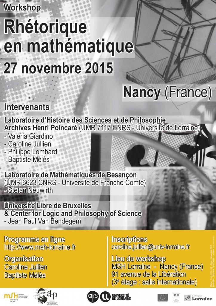 Affiche du Workshop Rhétorique en mathématique (Nancy, 27/11/2015)
